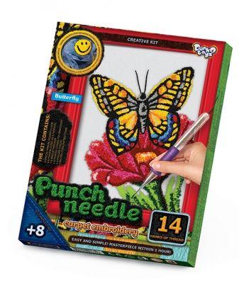 Ковровая вышивка Punch Needle. Бабочка