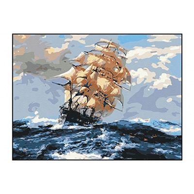 Роспись по холсту Корабль и шторм 30х40см