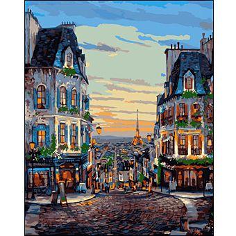 Роспись по холсту Улицы Парижа 30х40см